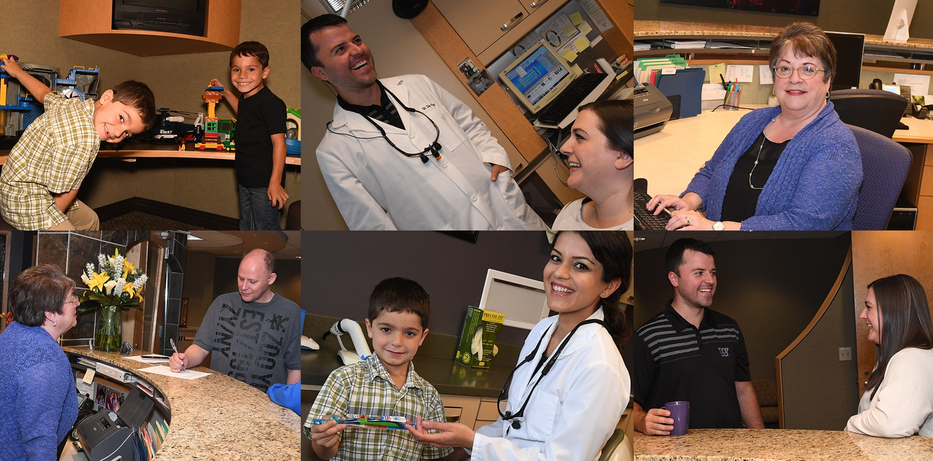 Collage of your Redmond, Washington dental team at Frost Family Dentistry having fun and helping patients