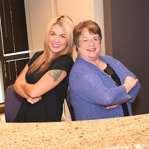 Jene, our Office Manager, and Sandy, our Patient Care Coordinator at the front desk of our Redmond dental office.